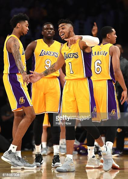 Angelo Russell of the Los Angeles Lakers reacts to his three pointer against the Houston Rockets at Staples Center on October 26 2016 in Los Angeles...