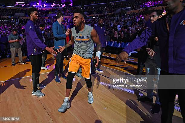 Angelo Russell of the Los Angeles Lakers runs out before the game against the Houston Rockets on October 26 2016 at STAPLES Center in Los Angeles...