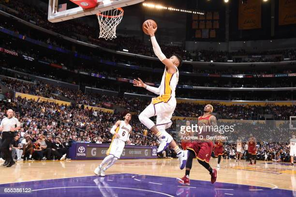 Angelo Russell of the Los Angeles Lakers shoots the ball against the Cleveland Cavaliers on March 19 2017 at STAPLES Center in Los Angeles California...