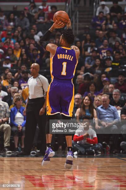 Angelo Russell of the Los Angeles Lakers shoots the ball against the LA Clippers on April 1 2017 at STAPLES Center in Los Angeles California NOTE TO...