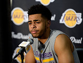 Angelo Russell of the Los Angeles Lakers speaks during a news conference to discuss the controversy with teammate Nick Young before the start of the...
