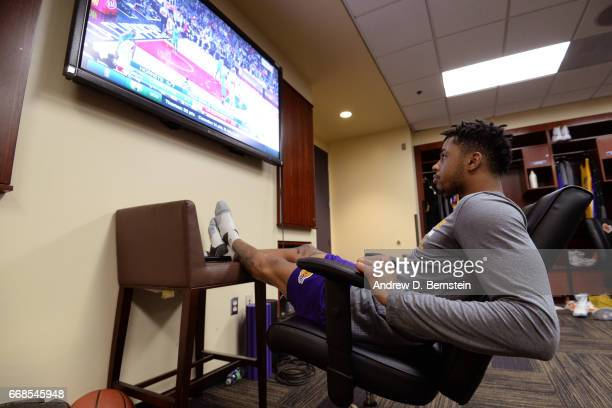 Angelo Russell of the Los Angeles Lakers watches footage before the game against the Charlotte Hornets on February 28 2017 at STAPLES Center in Los...