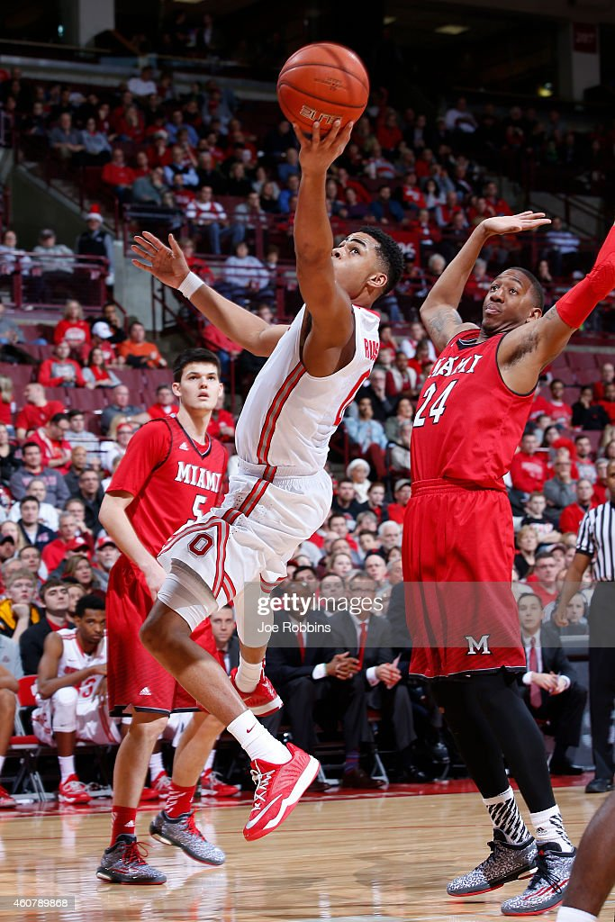 Angelo Russell of the Ohio State Buckeyes drives to the basket against Chris Bryant of the Miami Redhawks during the game at Value City Arena on...