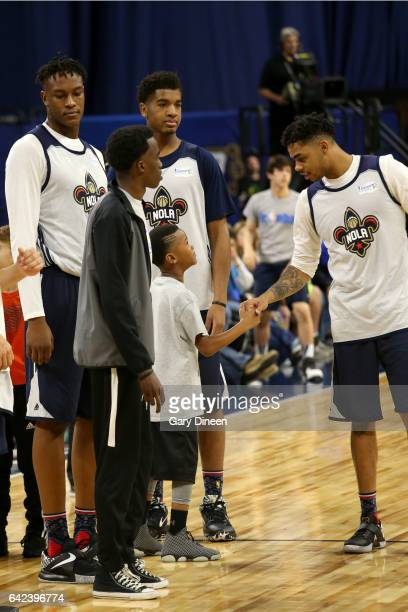Angelo Russell of the USA Team high fives with a fan during the BBVA Rising Stars Challenge Practice as part of 2017 AllStar Weekend at the...