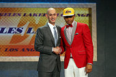 Angelo Russell poses with Commissioner Adam Silver after being drafted second overall by the Los Angeles Lakers in the First Round of the 2015 NBA...
