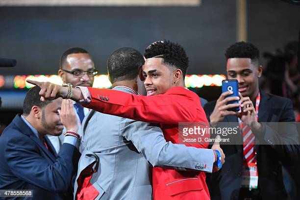 Angelo Russell the 3rd pick overall in the NBA Draft by the Los Angeles Lakers during the 2015 NBA Draft at the Barclays Center on June 25 2015 in...