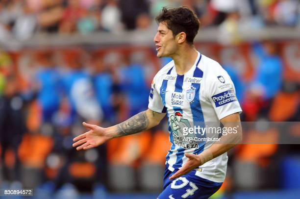Angelo Sagal of Pachuca celebrates his goal against Tigres during their Mexican Apertura 2017 Tournament football match at Hidalgo stadium on August...