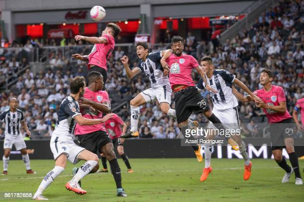 Angelo Sagal of Pachuca heads the ball during the 13th round match between Monterrey and Pachuca as part of the Torneo Apertura 2017 Liga MX at BBVA...