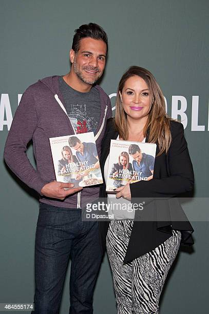 Angelo Sosa and Angie Martinez promote their book 'Healthy Latin Eating' at Barnes Noble Tribeca on February 26 2015 in New York City