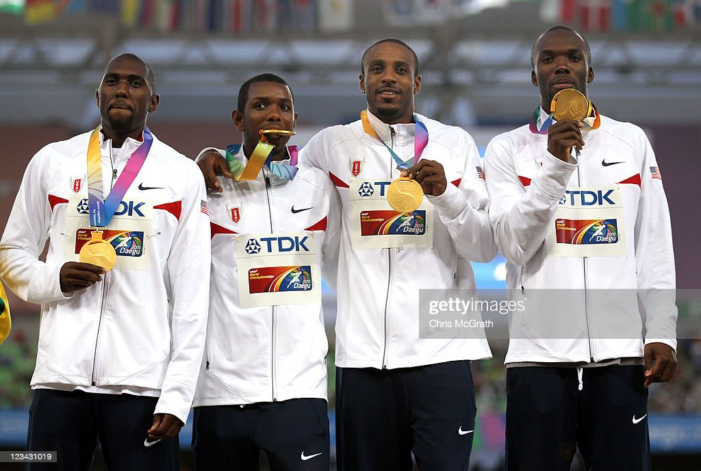 Angelo Taylor, Bershawn Jackson, Greg Nixon and LaShawn Merritt of the USA pose with their gold medals during the medal ceremony for the men's 4x400 metres relay during day eight of 13th IAAF World Athletics Championships at Daegu Stadium on September 3, 2011 in Daegu, South Korea.
