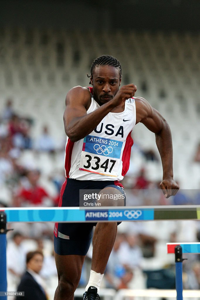Angelo Taylor in the men's 400m Hurdles during the Athens 2004 Olympic Games at the Olympic Stadium on August 23, 2004. Brazell finished with a time of 48.79