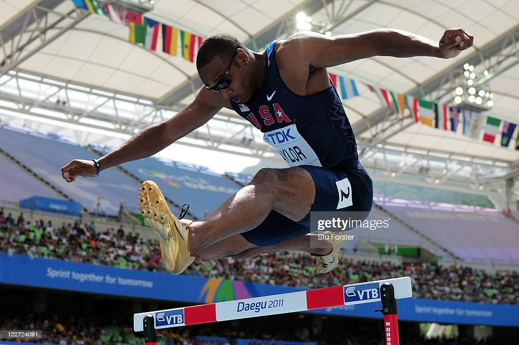 Angelo Taylor of United States competes in the men's 400 metres hurdles heats during day three of the 13th IAAF World Athletics Championships at the Daegu Stadium on August 29, 2011 in Daegu, South Korea.