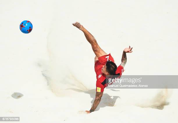 Angelo Tchen of Tahitiin action during the FIFA Beach Soccer World Cup Bahamas 2017 quarter final match between Paraguay and Tahiti at National Beach...