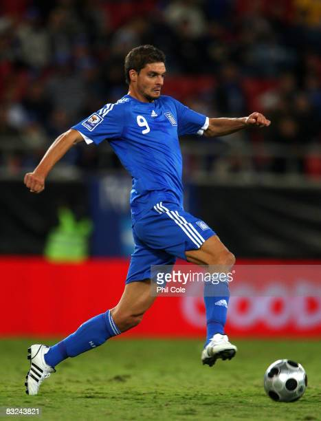 Angelos Charisteas of Greece during the Group Two FIFA World Cup 2010 qualifying match between Greece and Moldova held at the Georgios Karaiskakis...