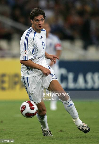 Angelos Charisteas of Greece in action during the Euro 2008 Group C Qualifying match between Greece and Bosnia Herzegovina at the Olympic Stadium on...