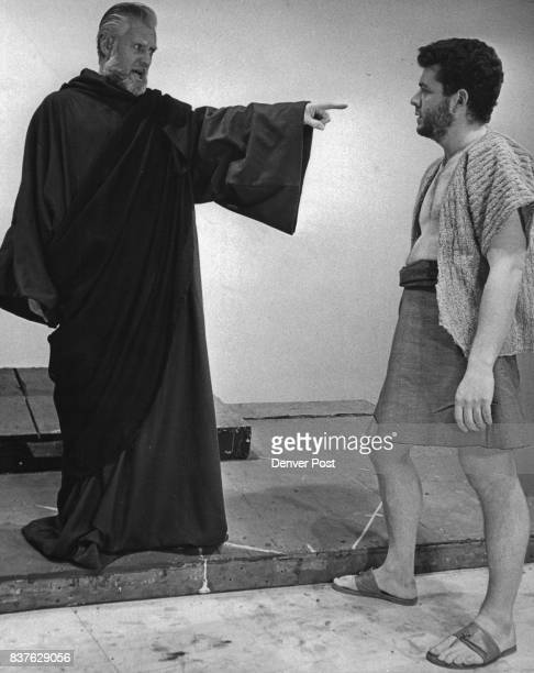 Angel's Admonition Harry Geldard as the Angel admonishes Robert Levy as Gideon to maintain his allegiance to the Lord in the Bonfils Theater...