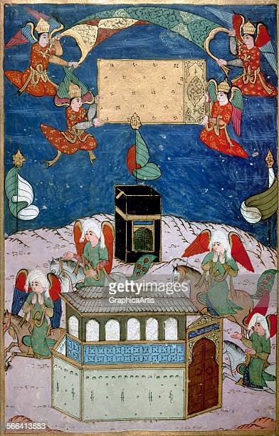 Angels decorating the Kaba at the birth of prophet Muhammad miniature on vellum 1595 From the Book of Sufti Abdullah in the collection of the Topkapi...
