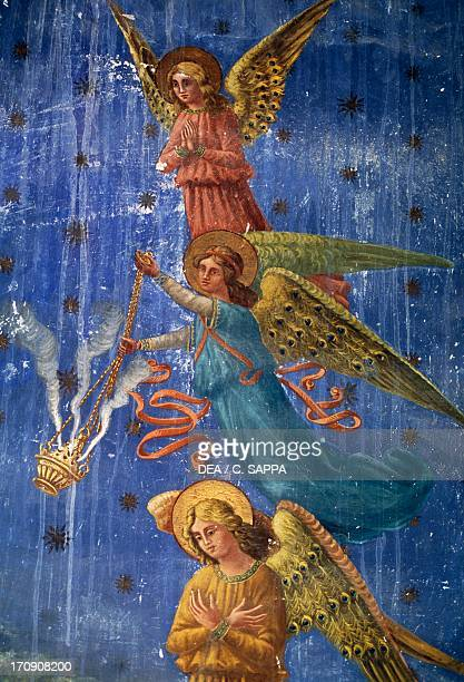 Angels fresco detail Church of St Isidore Santa Maria in Piana Treia Marche Italy