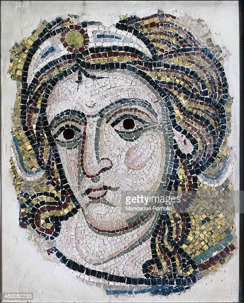 Angel's head 12th Century polychrome mosaic