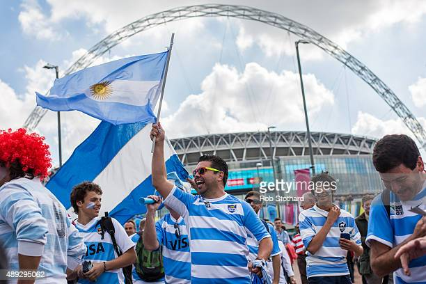 Angentina rugby fans arrive at Wembley Stadium ahead of the 2015 Rugby World Cup Pool C fixture between New Zealand and Argentina on September 20...