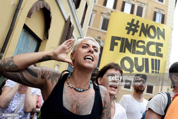 Anger and sadness during the Protest against compulsory vaccination in Piazza Montecitorio during the final vote of Decree Law on Vaccines at the...