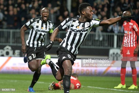 Angers' forward Jonathan Bamba celebrates scoring during the French L1 football match between Angers and Nancy on February 18 2017 at the JeanBouin...