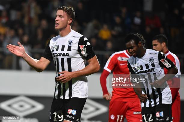 Angers' French forward Baptiste Guillaume reacts after scoring during the French League Cup football match Angers vs Nancy on October 25 in...