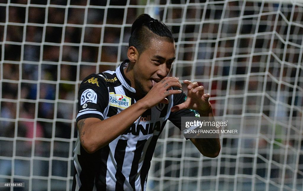 Angers' French forward Billy Ketkeophomphon celebrates after scoring a goal during the French L1 football match between Angers and Bastia on October...