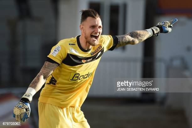 Angers' French goalkeeper Alexandre Letellier gestures and shouts during the French L1 football match between Lorient and Angers on May 6 2017 at the...