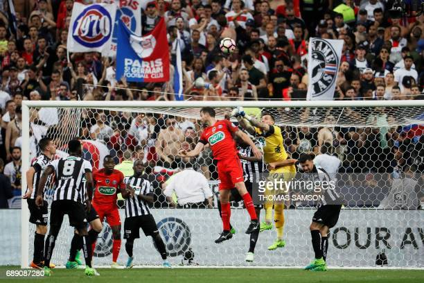 Angers' French goalkeeper Alexandre Letellier jumps for the ball during the French Cup final football match between Paris SaintGermain and Angers on...