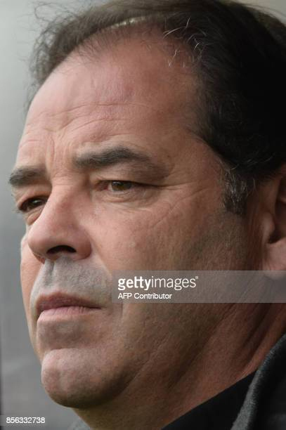 Angers' French head coach Stephane Moulin looks on before the French L1 football match between Angers and Lyon on October 1 2017 at the RaymondKopa...