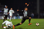 Angers' Gael Angoula controls the ball on March 25 2014 during the French Cup quarter final football match between Moulins and Angers on March 25...