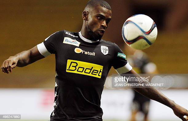 Angers' Guinean midfielder Abdoul Camara eyes the ball during the French L1 football match between Monaco and Angers at the Louis II stadium in...