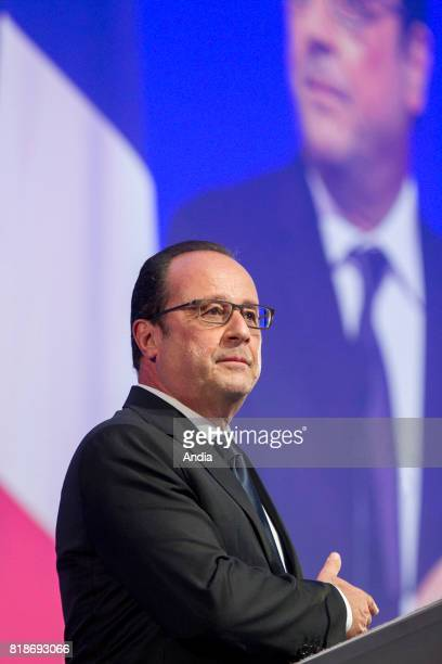 President of the French Republic Francois Hollande during his speech at the President of the Connected Objects City Cite de l'Objet Connecte is an...