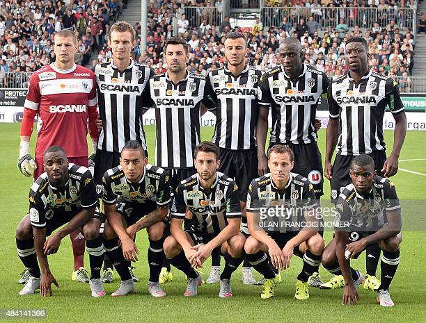 Angers' players pose before the French L1 football match between Angers and FC Nantes on August 15 2015 in Jean Bouin Stadium in Angers Western...