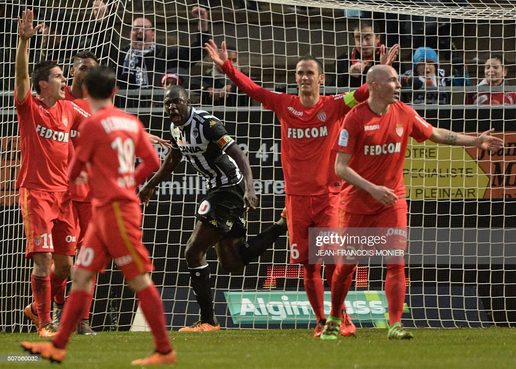 Angers' Senegalese midfielder Cheikh Ndoye celebrates after scoring a goal during the French L1 football match between Angers and Monaco at Jean...