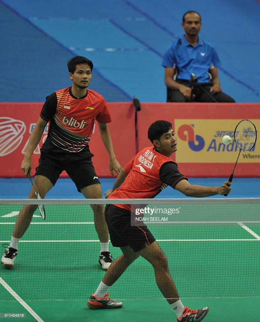 Angga Pratama R and Ricky Karanda Suwardi of Indonesia play