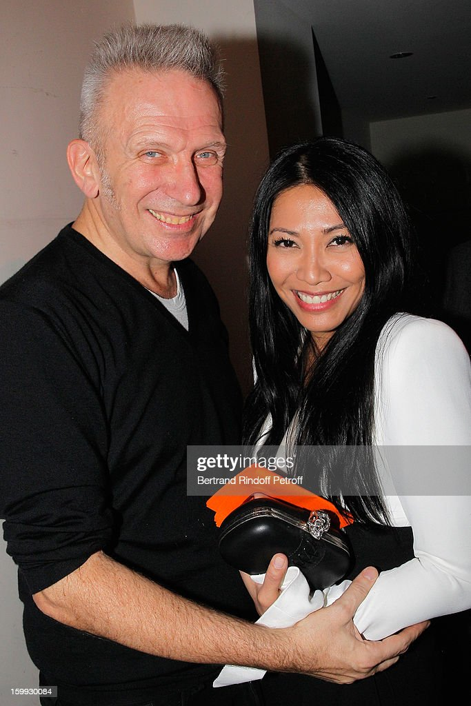 <a gi-track='captionPersonalityLinkClicked' href=/galleries/search?phrase=Anggun&family=editorial&specificpeople=772820 ng-click='$event.stopPropagation()'>Anggun</a> (R) and Jean-Paul Gaultier pose backstage following the Jean-Paul Gaultier Spring/Summer 2013 Haute-Couture show as part of Paris Fashion Week on January 23, 2013 in Paris, France.