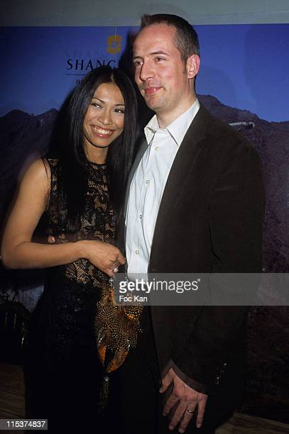 Anggun and Olivier Maury during Shangri La Hotel Launch Party at Hotel Baccarat in Paris France