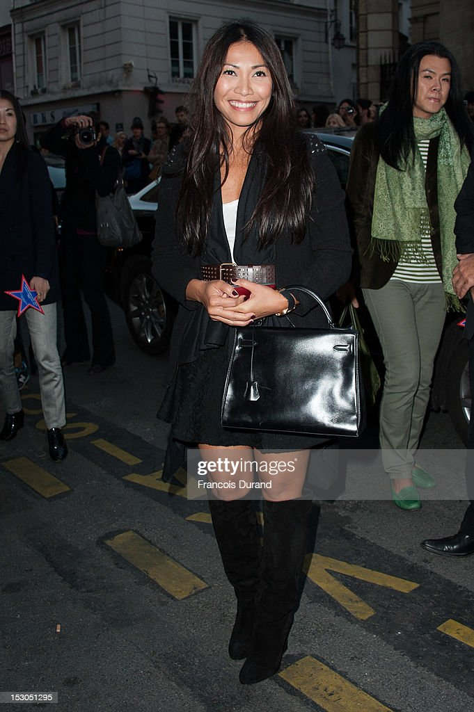 Anggun arrives at the Jean-Paul Gaultier Spring / Summer 2013 show as part of Paris Fashion Week on September 29, 2012 in Paris, France.