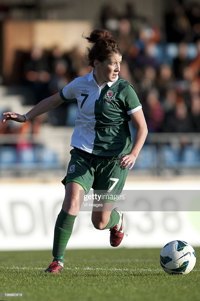 Angharad James of Wales during the Women's international friendly match between Netherlands and Wales, at Tata steel stadium on November 25, 2012 in Velzen-Zuid, Netherlands.
