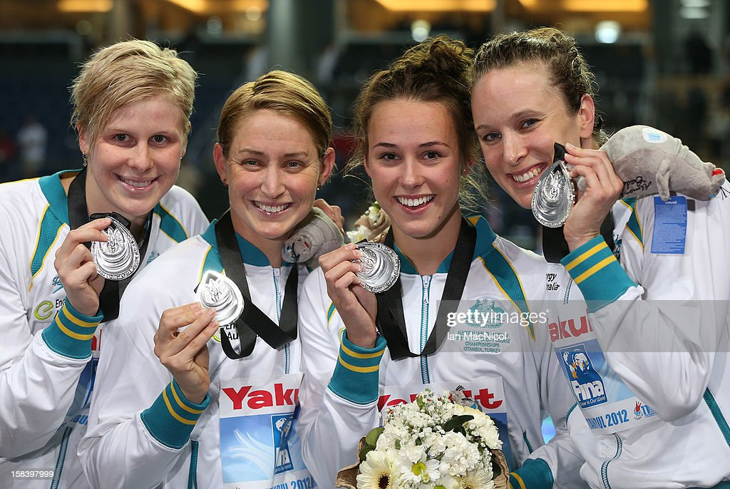 Angie Bainbridge, Sally Foster, Brianna Throssells and Marieke Guehrer of Australia pose with their silver medals from the Women's 4x100m Freestyle relay during day four of the 11th FINA Short Course World Championships at the Sinan Erdem Dome on December 14, 2012 in Istanbul, Turkey.
