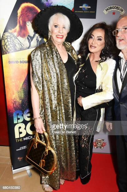 Angie Bowie Nancy Dell'Olio and director Jon Brewer attend a VIP screening of 'Beside Bowie The Mick Ronson Story' at The May Fair Hotel on May 8...