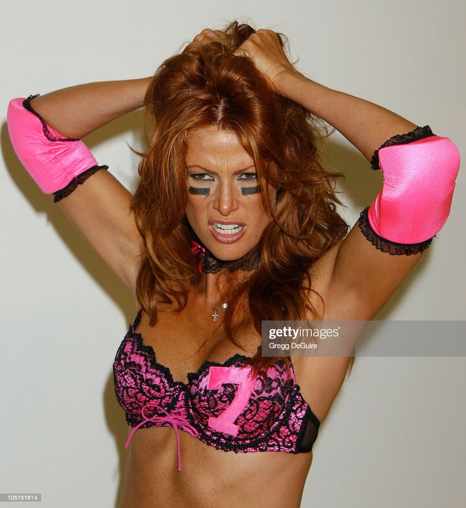 <a gi-track='captionPersonalityLinkClicked' href=/galleries/search?phrase=Angie+Everhart&family=editorial&specificpeople=206121 ng-click='$event.stopPropagation()'>Angie Everhart</a> during Unveiling for Lingerie Bowl 2004 at Quixote Studios in Hollywood, California, United States.