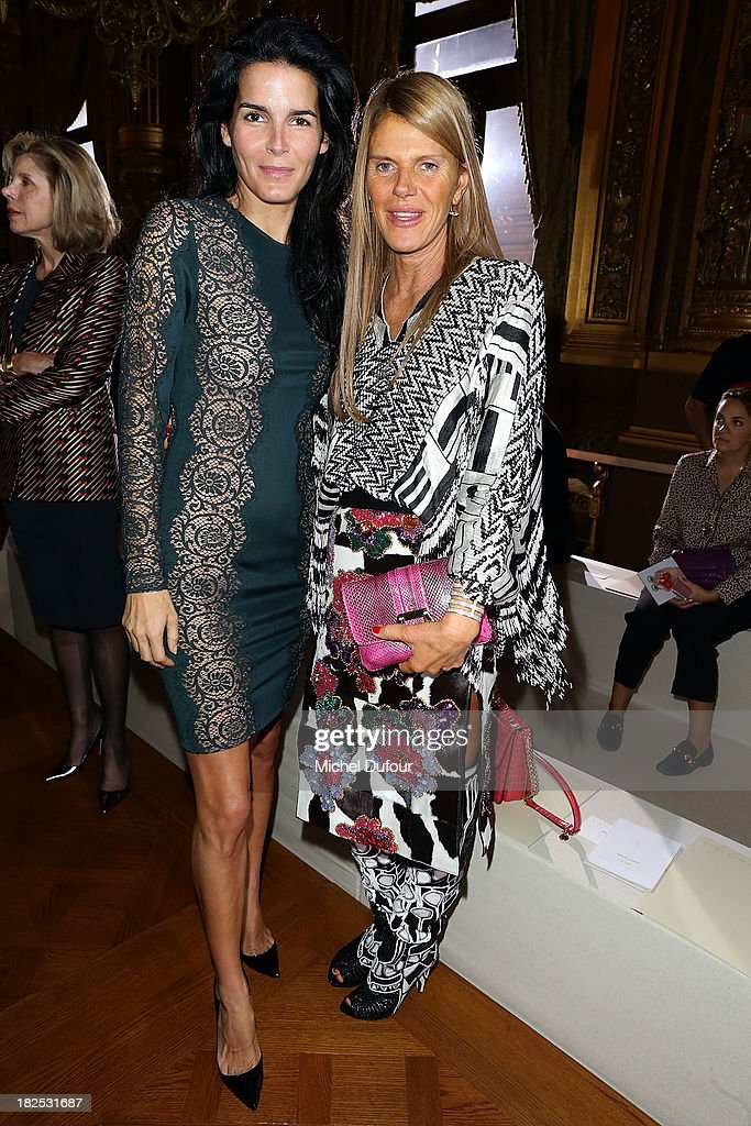 <a gi-track='captionPersonalityLinkClicked' href=/galleries/search?phrase=Angie+Harmon&family=editorial&specificpeople=204576 ng-click='$event.stopPropagation()'>Angie Harmon</a> and <a gi-track='captionPersonalityLinkClicked' href=/galleries/search?phrase=Anna+Dello+Russo&family=editorial&specificpeople=4391772 ng-click='$event.stopPropagation()'>Anna Dello Russo</a> attend the Stella McCartney show as part of the Paris Fashion Week Womenswear Spring/Summer 2014 on September 30, 2013 in Paris, France.