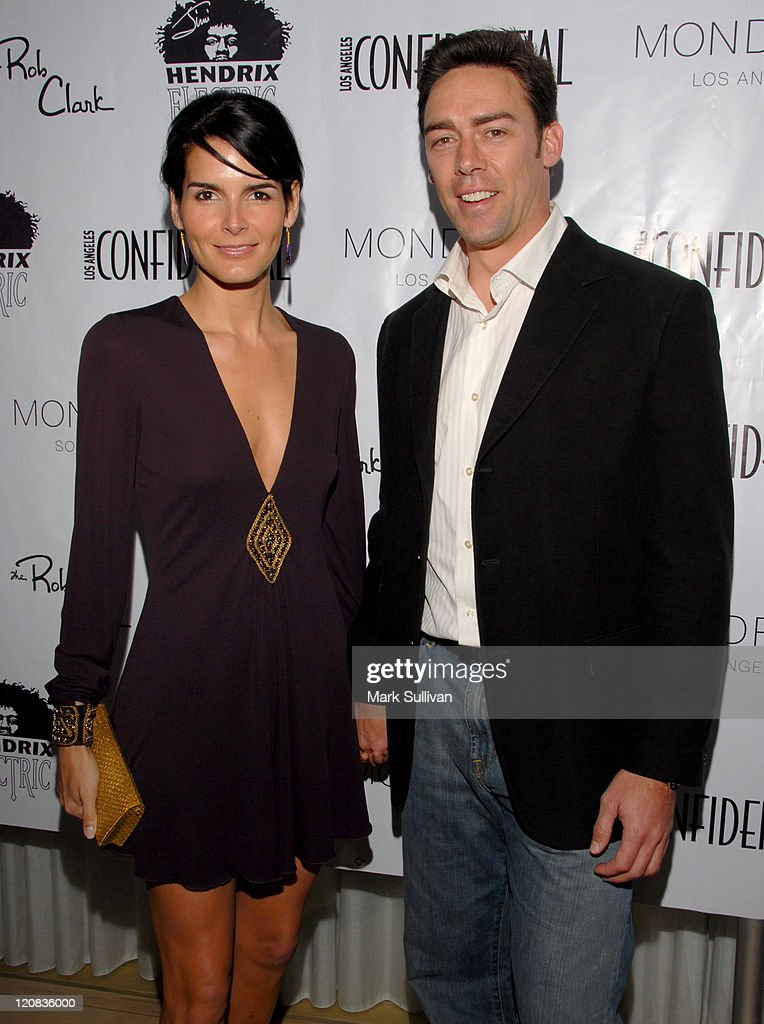 Angie Harmon and Jason Sehorn during Los Angeles Confidential Magazine in Association with Morgans Hotel Group Celebrates the 2007 Oscars with Forest Whitaker, Rob Clark and Hendrix Electric Vodka - Arrivals at Skybar at Mondrian Hotel in Los Angeles, California, United States.