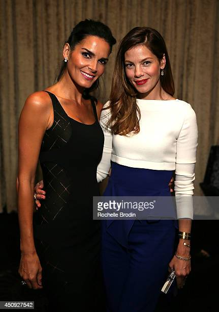 Angie Harmon and Michelle Monaghan attend the Absolut ELYX and The Glenlivet Lounge At The Critics Choice Television Awards at The Beverly Hilton...