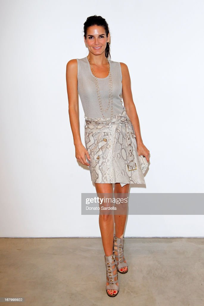 Angie Harmon attends a cocktail reception hosted by Ferragamo to announce the inaugural opening gala for the Wallis Annenberg Center for the Performing Arts at Gagosian Gallery on May 3, 2013 in Beverly Hills, California.