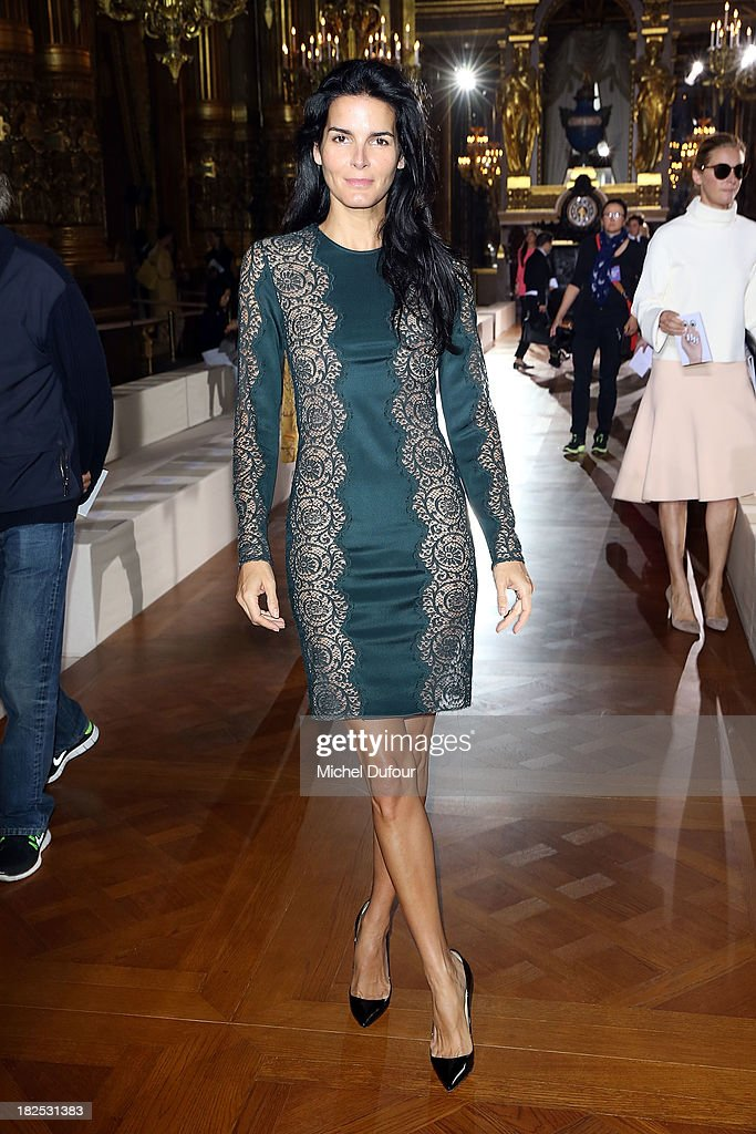 <a gi-track='captionPersonalityLinkClicked' href=/galleries/search?phrase=Angie+Harmon&family=editorial&specificpeople=204576 ng-click='$event.stopPropagation()'>Angie Harmon</a> attends the Stella McCartney show as part of the Paris Fashion Week Womenswear Spring/Summer 2014 on September 30, 2013 in Paris, France.