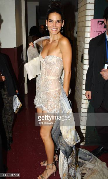 Angie Harmon during 2002 VH1 Vogue Fashion Awards Audience Backstage at Radio Cit y Music Hall in New York City New York United States